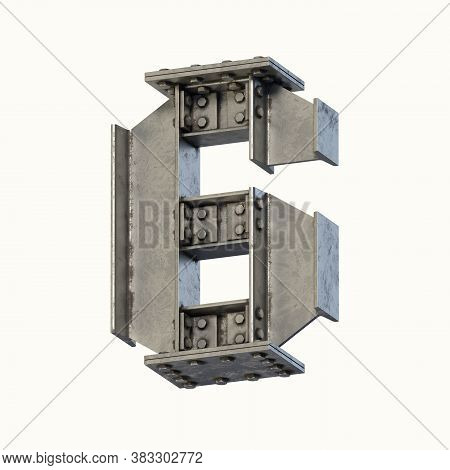 Steel Beam Font 3d Rendering Number 6, Three Dimensional Object