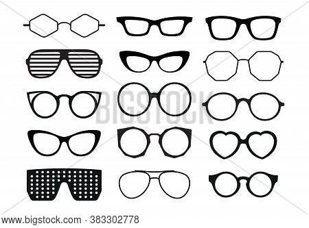 Glasses Collection. Black Clip Art Eyeglasses And Sunglasses On White Background. Trendy Shapes - Av