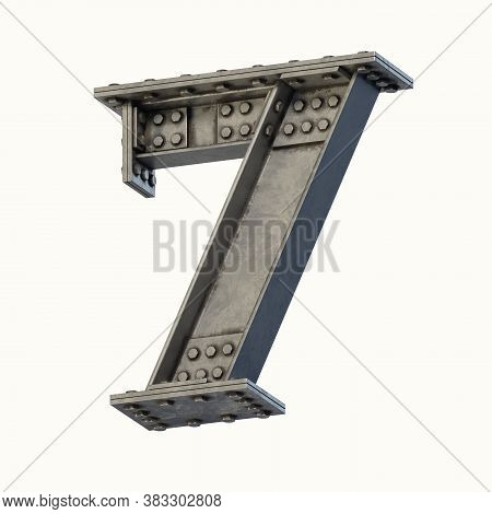 Steel Beam Font 3d Rendering Number 7, Three Dimensional Object