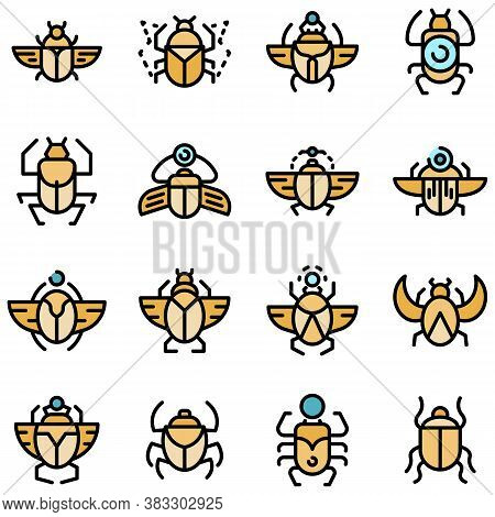 Scarab Beetle Icons Set. Outline Set Of Scarab Beetle Vector Icons Thin Line Color Flat On White