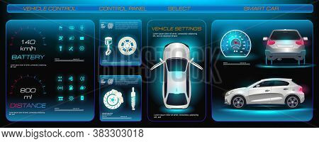 Futuristic Car Service, Scan, Diagnose And Analyze Vehicle Data. Electronic Touch Panel For Electric