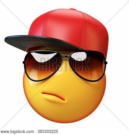 Cool Emoji Isolated On White Background, Swag Emoticon With Sunglasses 3d Rendering