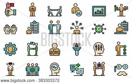 Personal Traits Icons Set. Outline Set Of Personal Traits Vector Icons Thin Line Color Flat On White