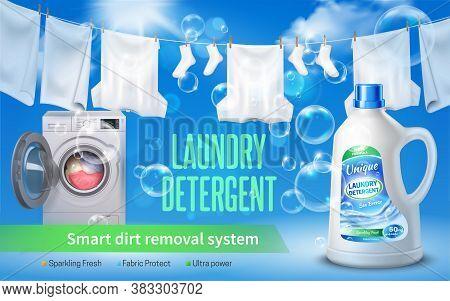 Laundry Detergent Realistic Horizontal Banner With Laundry Detergent Headline Bottle Of Washing Liqu
