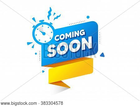 Coming Soon Ribbon Banner With Timer Icon. Quality Web Element. Announcement Bubble For Promotion. C