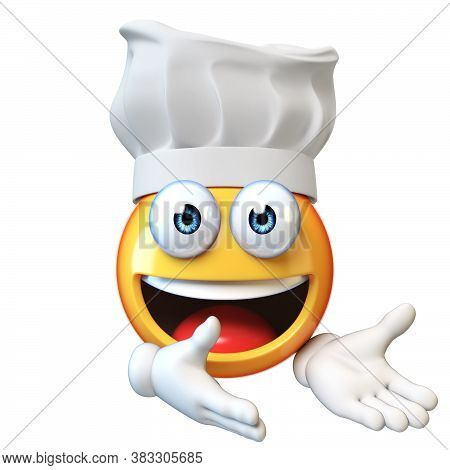 Emoji Cook Isolated On White Background,emoticon Restaurant Chef 3d Rendering