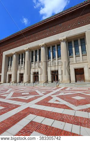 ANN ARBOR, MI - AUGUST 09,2020:  Hill Auditorium is the largest performing arts venue on University of Michigan campus known for its superb acoustics, has served as a showplace for important debuts.