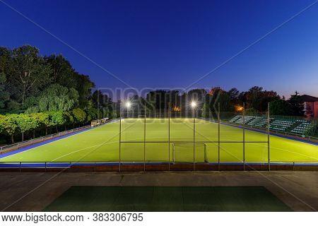 Field Hockey Stadium With Lights At Night