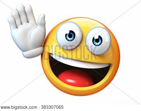 Emoji Waving With One Hand Isolated On White Background, Good Bye Emoticon 3d Rendering