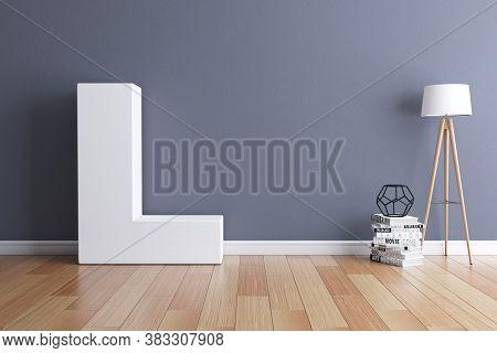 Mock Up Interior Font 3d Rendering Letter L