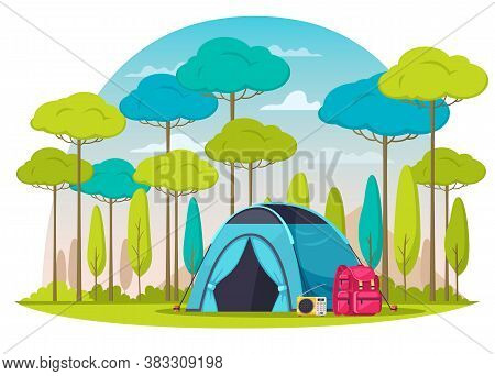 Camping Place In Woods Composition With Blue Tent Radio Backpack Cartoon Vector Illustration