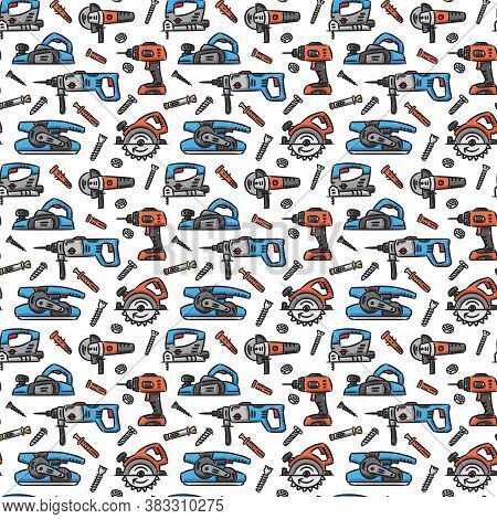 Power Tools Vector Seamless Pattern. Electric Work Tools For Construction On White Background. Saw,