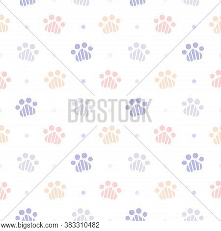 Cute Paw Footprint Seamless Background Repeating Pattern, Wallpaper Background, Cute Seamless Patter