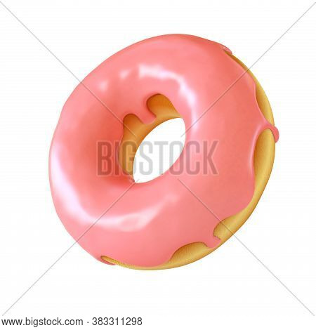 Glazed Donut Or Doughnut 3d Rendering, Three Dimensional Object