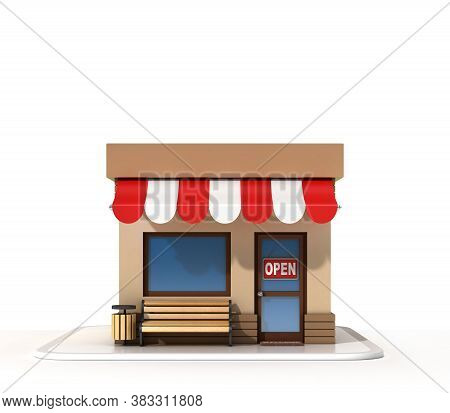 Store Front 3d Rendering, Three Dimensional Object