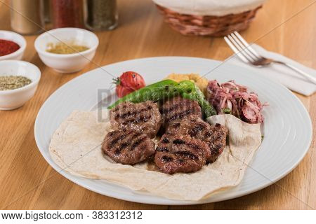 Turkish Meatball Traditional Kofte. Spicy Meatballs Kebab Or Kebap.