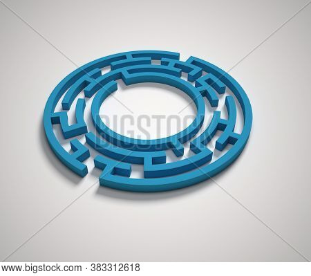 Maze Font 3d Rendering Letter O, Three Dimensional Object