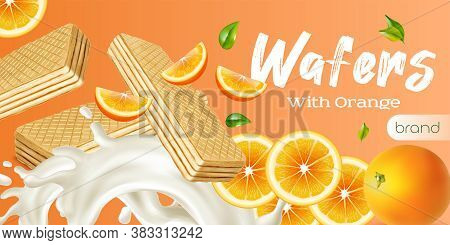 Wafer Realistic Advertisement With Fresh Whole And Sliced Orange And Milk Splashes Vector Illustrati