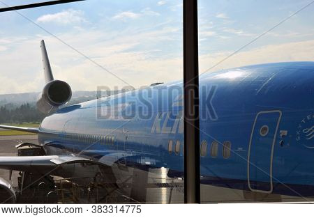AMSTERDAM KLM planes at Schiphol Airport May 2, 2018 in Amsterdam, The Netherlands.
