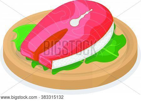 Piece Fish Tuna Salmon, Fresh Steak Tenderloin On Wooden Kitchen Board Isolated On White, Cartoon Ve