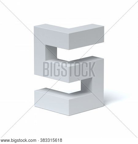 Isometric Font 3d Rendering Number 5, Three Dimensional Object