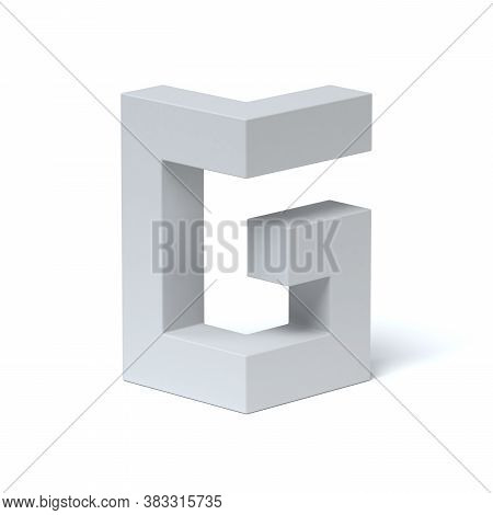 Isometric Font 3d Rendering Letter G, Three Dimensional Object