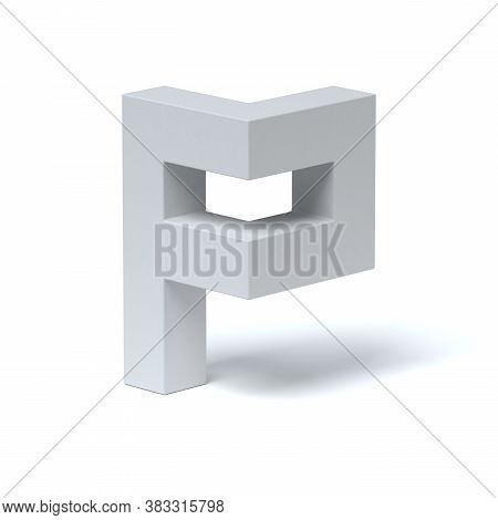 Isometric Font 3d Rendering Letter P, Three Dimensional Object