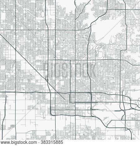 Urban City Map Of Phoenix. Vector Illustration, Phoenix Map Art Poster.