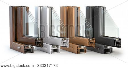 Plastic window profiles PVC of different colors in section  isolated on white background. 3d illustration