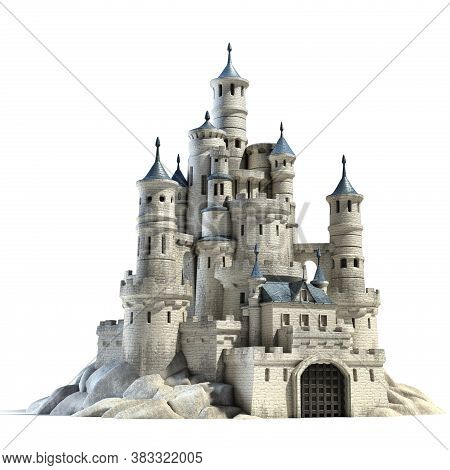 Castle On White Background 3d Illustration, Three Dimensional Object