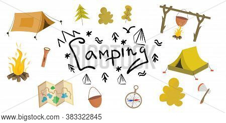 The Camping Kit Is Isolated On A White Background. Vector Illustration In A Simple Flat Style. Tents