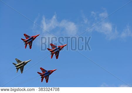 August 16, 2015: The Swifts Aerobatic Team Fly Mig-29 Combat Aircraft. Cheboksary. Russia.