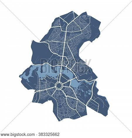 Canberra Map. Detailed Vector Map Of Canberra City Administrative Area. Dark Poster With Streets On
