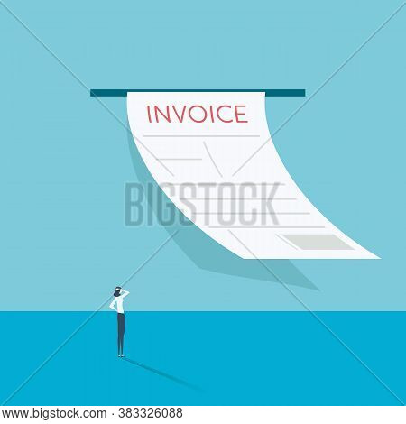 Accounting Website Vector Illustration With Incoming Invoice Symbol. Bookkeeping, Financial Statemen