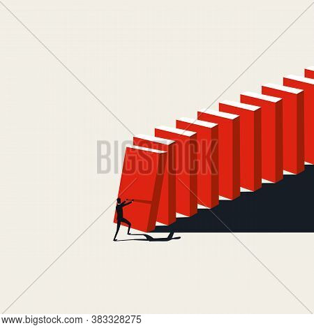 Business Crisis Domino Effect Vector Concept With Businessman Pushing Domino Blocks. Risk, Collapse,
