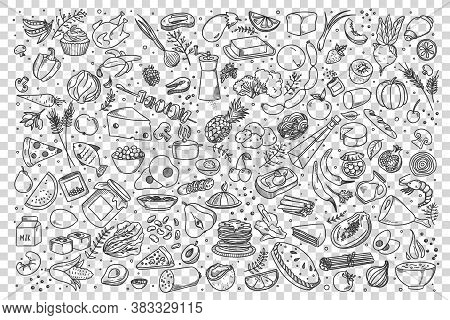 Food Doodle Set. Collection Of Hand Drawn Sketches Templates Of Various Different Kind Of Meal. Meat