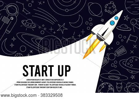 Rocket Launch In The Sky, Space. Space Ship. Outer Space, Interstellar Travels, Universe. Business C