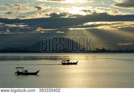 Georgetown, Penang/malaysia - Feb 27 2016: Two Boat Under The Sunray At Sea.