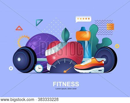 Fitness Flat Concept With Gradients. Fitness Center Web Template. Healthy Lifestyle And Natural Food