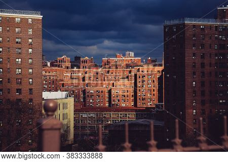 Two Bridges Neighborhood. Roof Tops Of Historic Apartments In New York. High-rise And Walk-up Buildi
