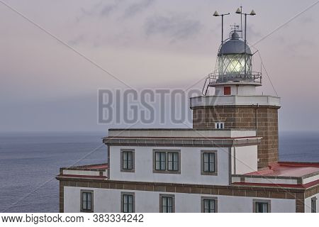 Finisterre Lighthouse At Sunset. Death Coast In Galicia. Travel Spain