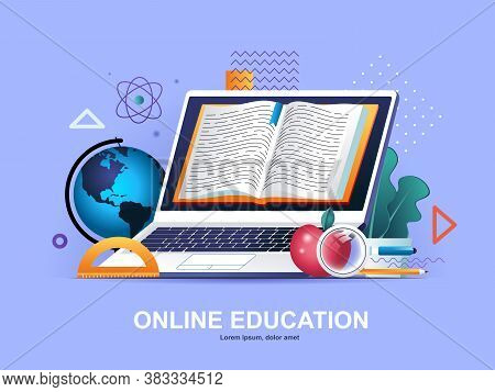 Online Education Flat Concept With Gradients. Distance Learning Service, Professional Courses And Sk