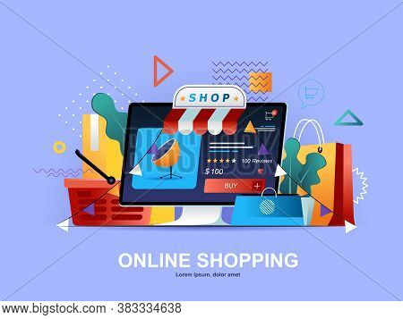Online Shopping Flat Concept With Gradients. Web Solution For Online Shopping Platform Template. E-c