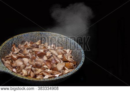 Close-up Of Fried Or Stewed Mushrooms In A Skillet, Steam Rises From Hot Mushrooms, Isolated On Blac