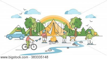 Camping Family With Kids Outdoors With Fireplace And Shelter Outline Concept. Parents Quality Time T