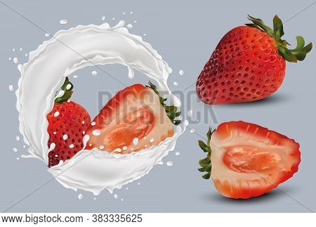 Realistic Strawberry On Grey Background. Whole Strawberries And Slice With Strawberries In Milk Spla