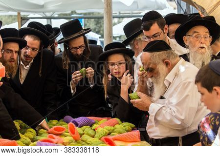 JERUSALEM, ISRAEL - SEPTEMBER 20, 2018: Pre-holiday bazaar in Jerusalem on the eve of Sukkot. The concept of photo tourism. Religious Jews choose trog - the fruit of  magnificent tree