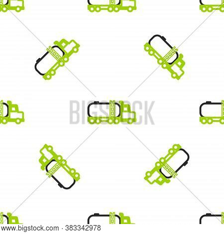 Line Tanker Truck Icon Isolated Seamless Pattern On White Background. Petroleum Tanker, Petrol Truck