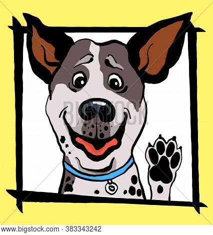 Vector Illustration. Sketch. Funny Portrait Of A Dog In A Frame On A Yellow Background. Print For Cl