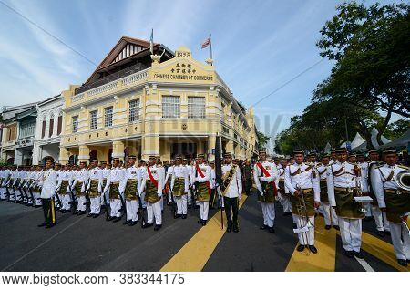 Georgetown, Penang/malaysia - Aug 31 2016: Guard Of Honour From Malay Regiment.